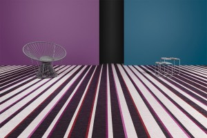 purple and white Bolon floor