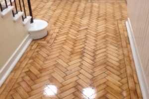 Herringbone wood floor restoartion