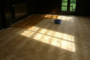 Wood floor treatment before