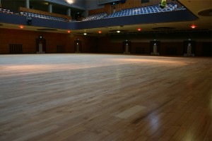 restored wooden stage floor