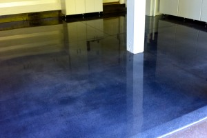 clean blue concrete floor